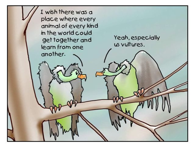 dream about the environment cartoon of vultures