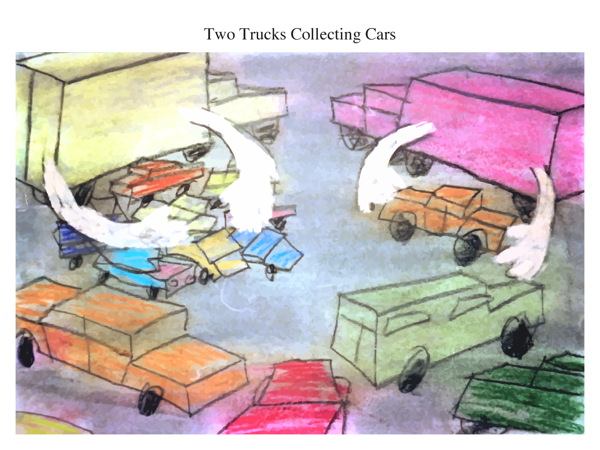 Two Trucks Collecting Cars