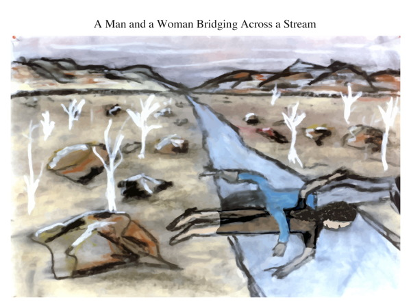 A Man and a Woman Bridging Across a Stream