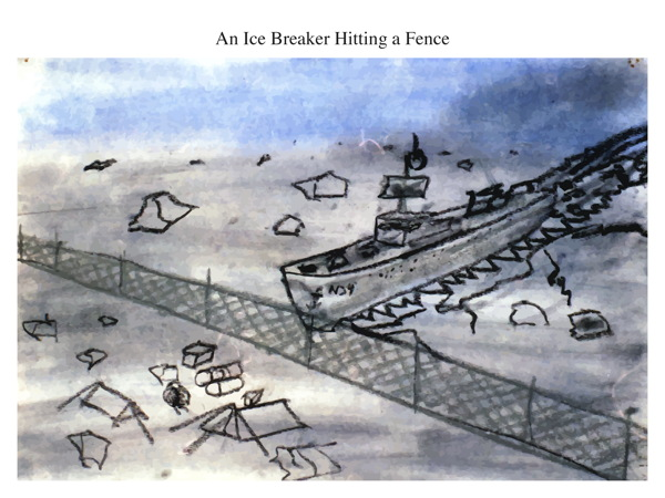 An Ice Breaker Hitting a Fence