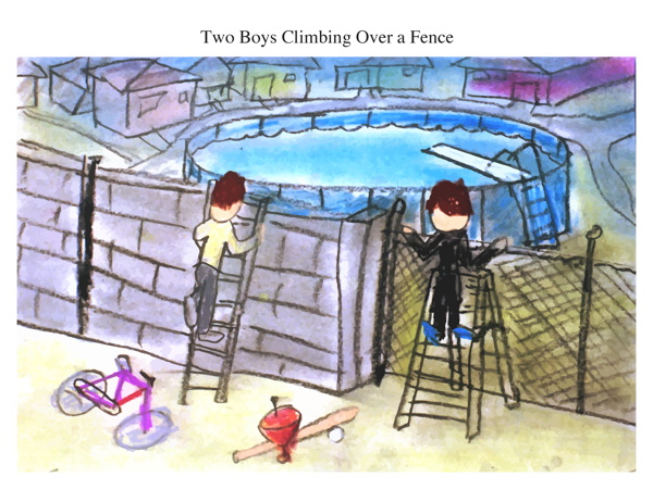 Two Boys Climbing Over a Fence