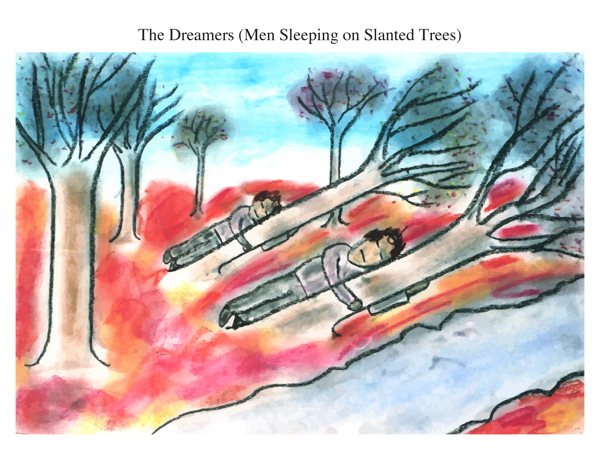 The Dreamers (Men Sleeping on Slanted Trees)