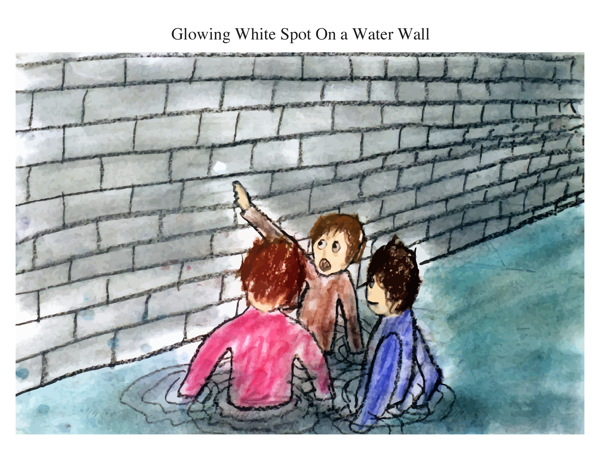 Glowing White Spot On a Water Wall
