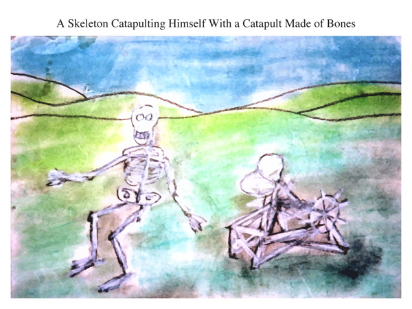 A Skeleton Catapulting Himself With a Catapult Made of Bones