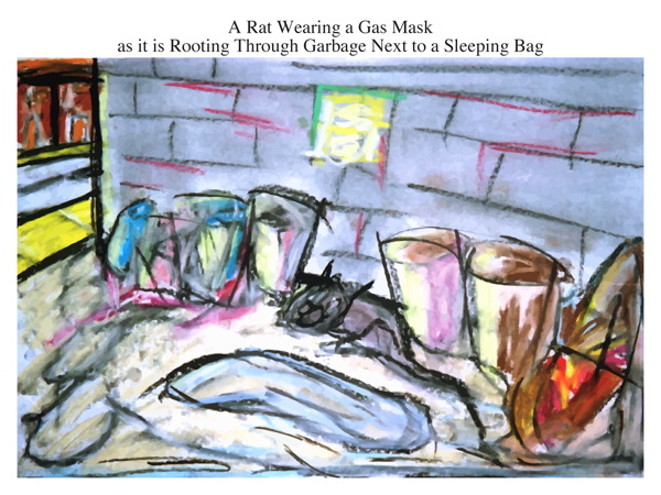 A Rat Wearing a Gas Mask as it is Rooting Through Garbage Next to a Sleeping Bag