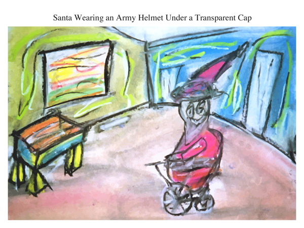 Santa Wearing an Army Helmet Under a Transparent Cap