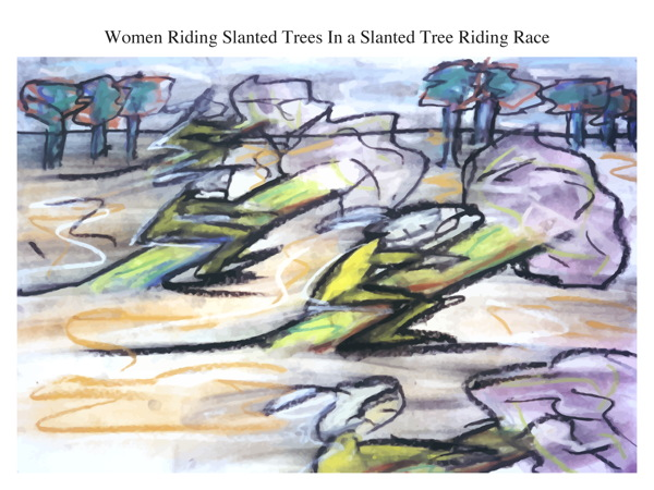 Women Riding Slanted Trees In a Slanted Tree Riding Race