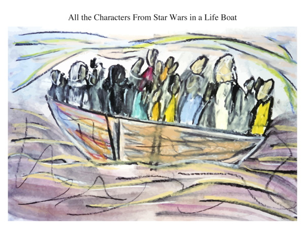 All the Characters From Star Wars in a Life Boat