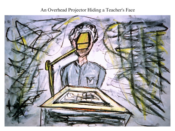 An Overhead Projector Hiding a Teacher's Face