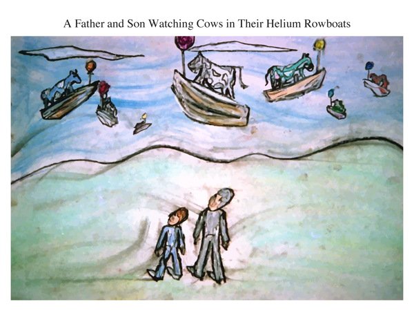 A Father and Son Watching Cows in Their Helium Rowboats