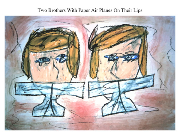 Two Brothers With Paper Air Planes On Their Lips