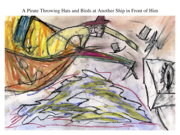 A Pirate Throwing Hats and Birds at Another Ship in Front of Him
