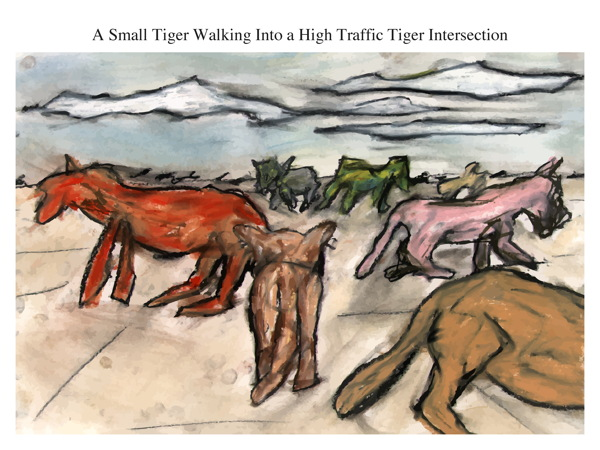 A Small Tiger Walking Into a High Traffic Tiger Intersection