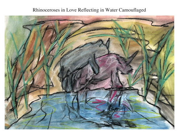 Rhinoceroses in Love Reflecting in Water Camouflaged