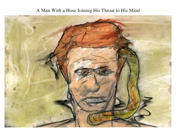 A Man With a Hose Joining His Throat to His Mind