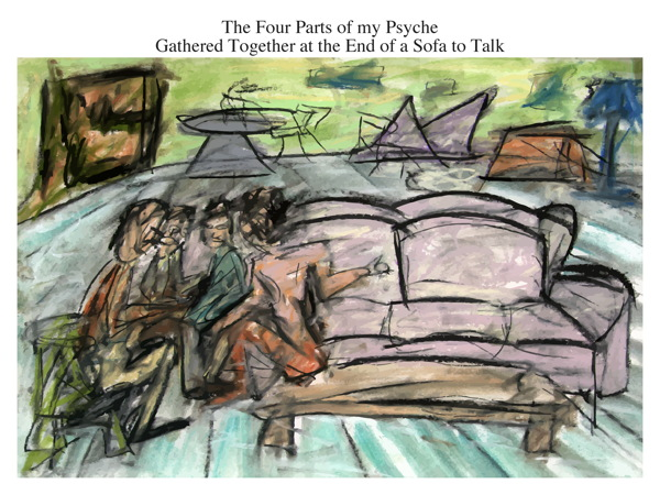 The Four Parts of my Psyche Gathered Together at the End of a Sofa to Talk