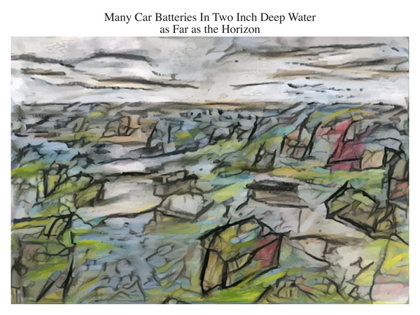 Many Car Batteries In Two Inch Deep Water as Far as the Horizon