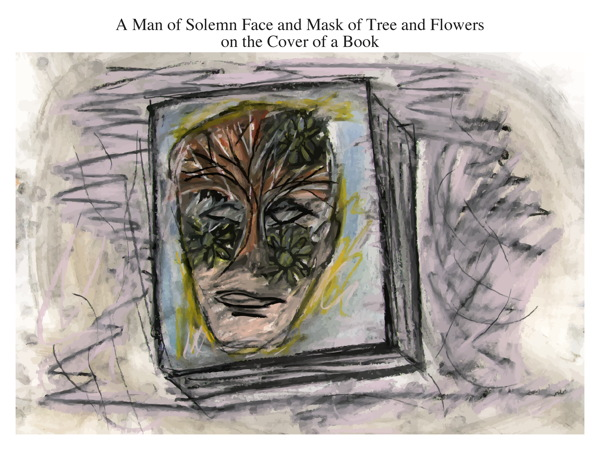 A Man of Solemn Face and Mask of Tree and Flowers on the Cover of a Book