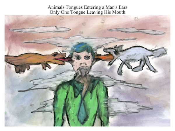 Animals Tongues Entering a Man's Ears Only One Tongue Leaving His Mouth