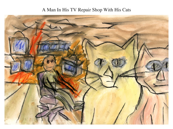 A Man In His TV Repair Shop With His Cats