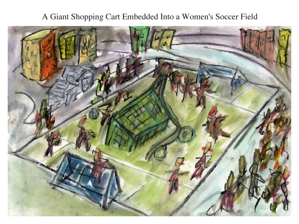 A Giant Shopping Cart Embedded Into a Women's Soccer Field