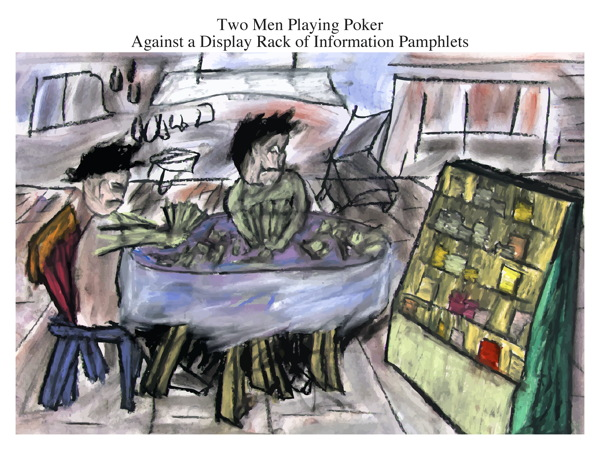 Two Men Playing Poker Against a Display Rack of Information Pamphlets