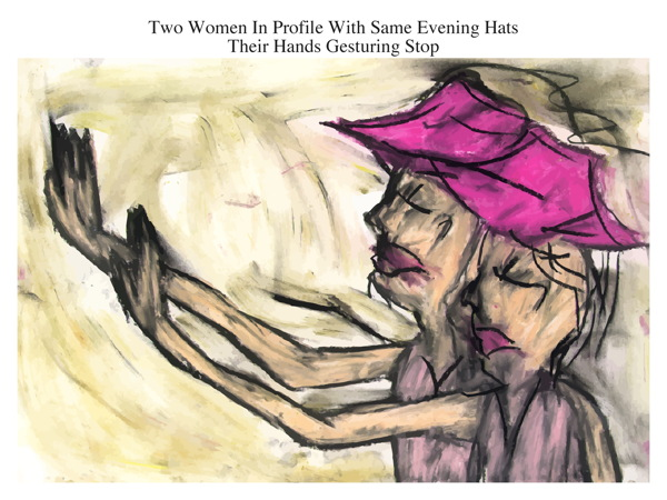 Two Women In Profile With Same Evening Hats Their Hands Gesturing Stop