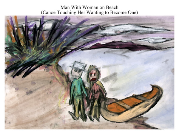 Man With Woman on Beach (Canoe Touching Her Wanting to Become One)