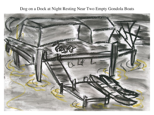 Dog on a Dock at Night Resting Near Two Empty Gondola Boats