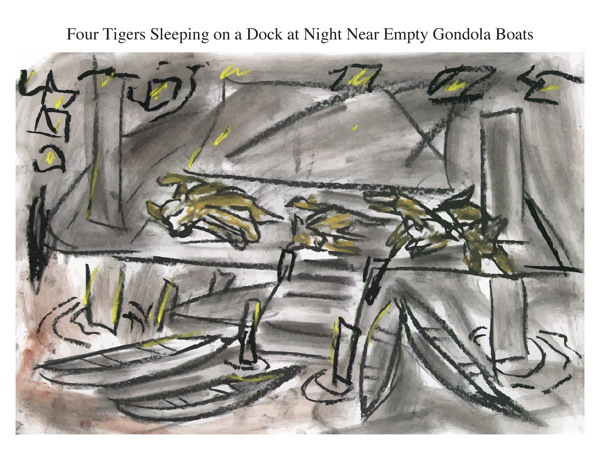 Four Tigers Sleeping on a Dock at Night Near Empty Gondola Boats