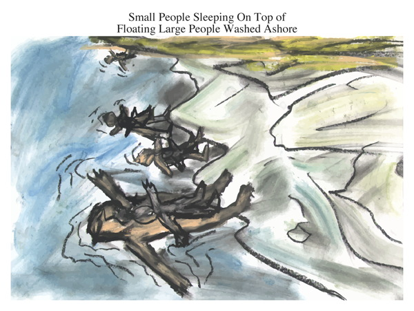 Small People Sleeping On Top of Floating Large People Washed Ashore