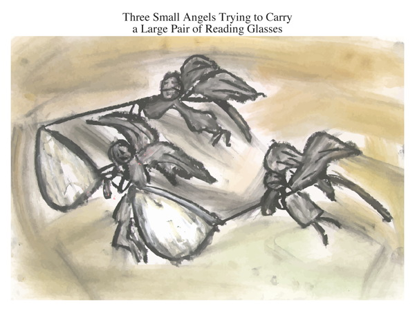 Three Small Angels Trying to Carry a Large Pair of Reading Glasses