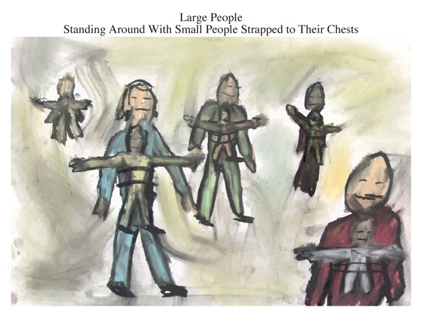 Large People Standing Around With Small People Strapped to Their Chests