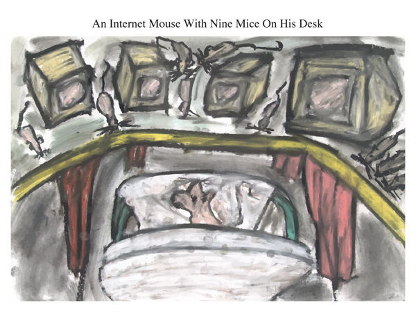 An Internet Mouse With Nine Mice On His Desk