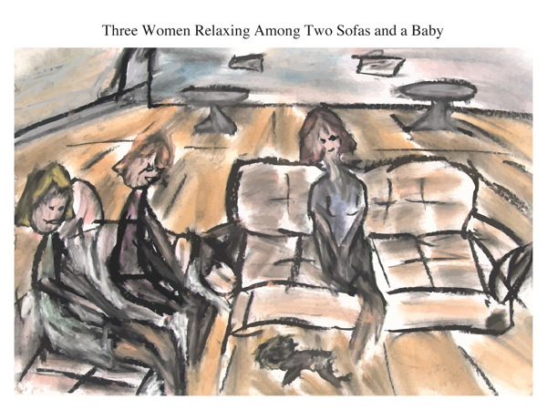 Three Women Relaxing Among Two Sofas and a Baby