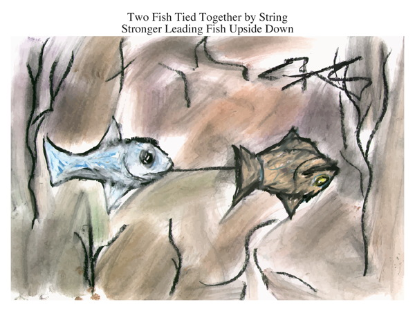 Two Fish Tied Together by String Stronger Leading Fish Upside Down