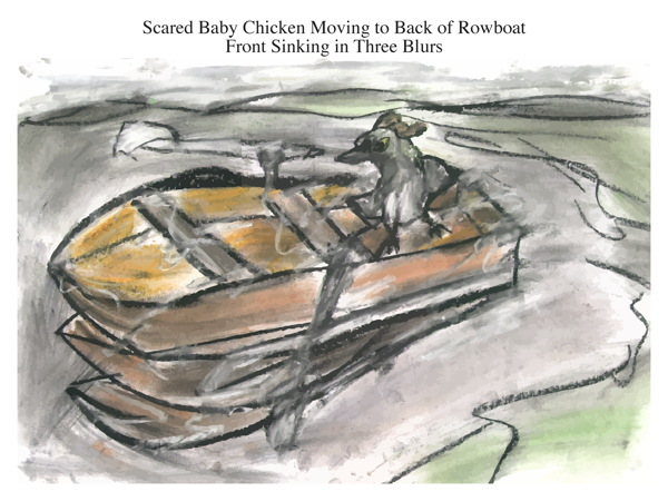 Scared Baby Chicken Moving to Back of Rowboat Front Sinking in Three Blurs