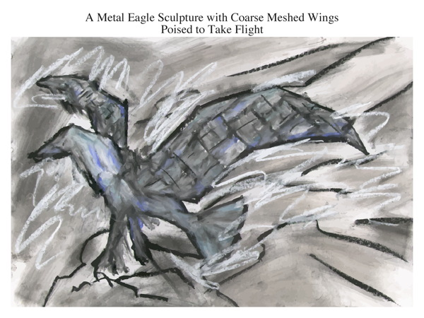 A Metal Eagle Sculpture with Coarse Meshed Wings Poised to Take Flight