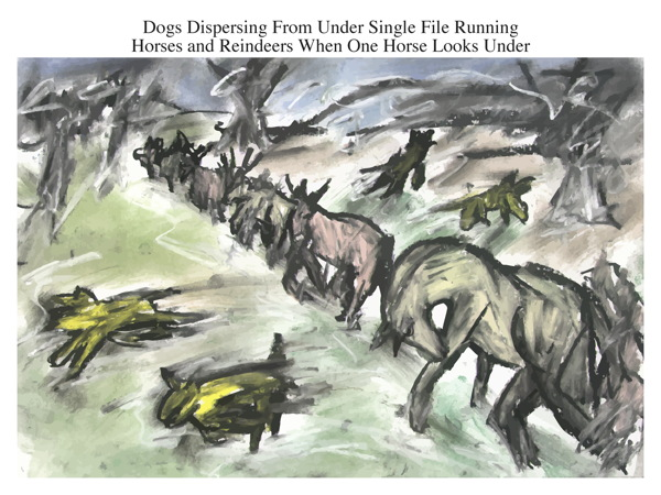 Dogs Dispersing From Under Single File Running Horses and Reindeers When One Horse Looks Under