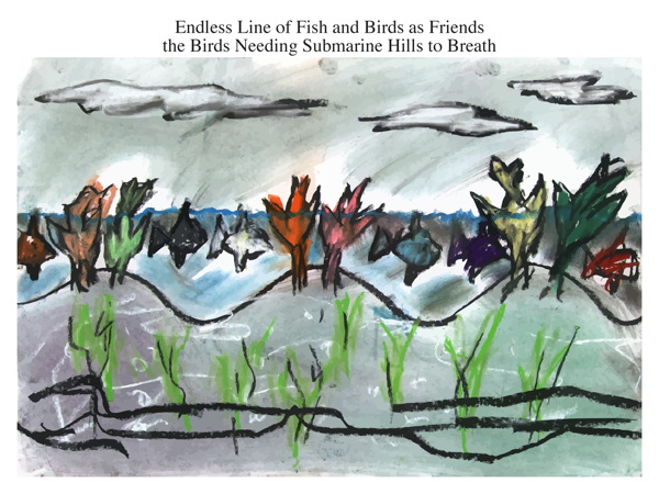 Endless Line of Fish and Birds as Friends the Birds Needing Submarine Hills to Breath
