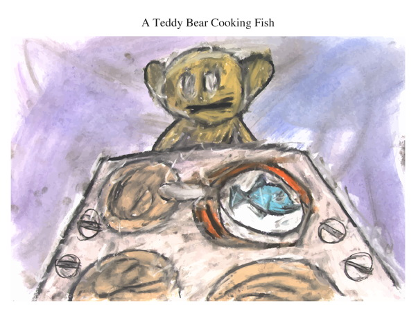A Teddy Bear Cooking Fish