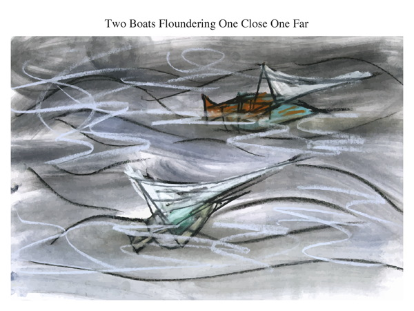 Two Boats Floundering One Close One Far