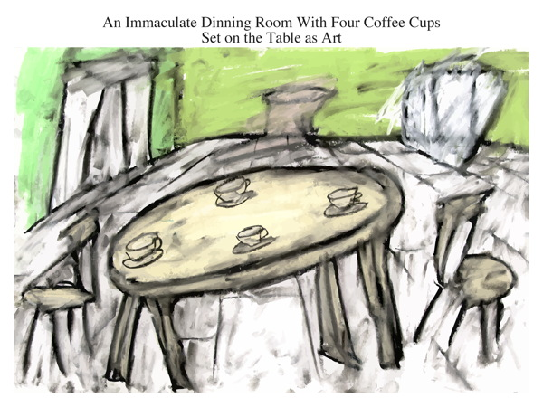 An Immaculate Dinning Room With Four Coffee Cups Set on the Table as Art