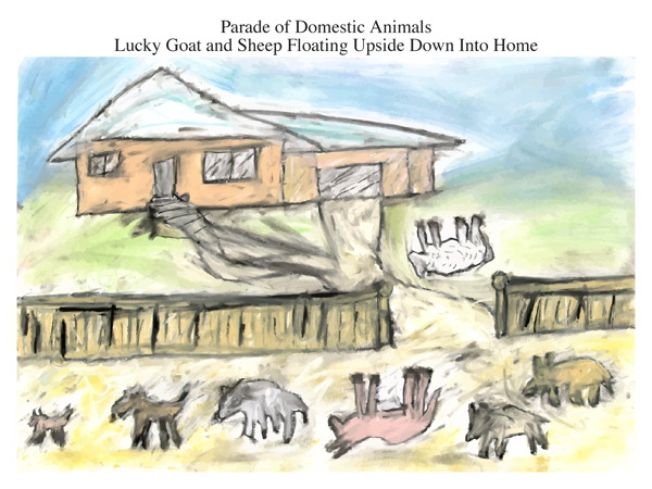 Parade of Domestic Animals Lucky Goat and Sheep Floating Upside Down Into Home