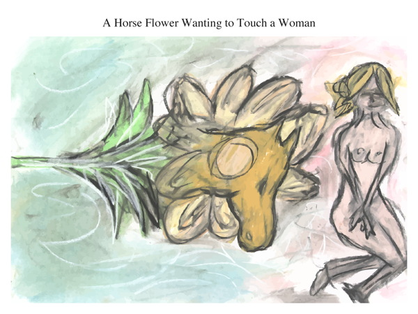 A Horse Flower Wanting to Touch a Woman