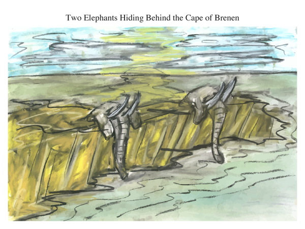 Two Elephants Hiding Behind the Cape of Brenen