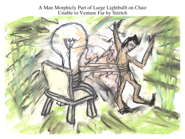 A Man Morphicly Part of Large Lightbulb on Chair Unable to Venture Far by Stretch