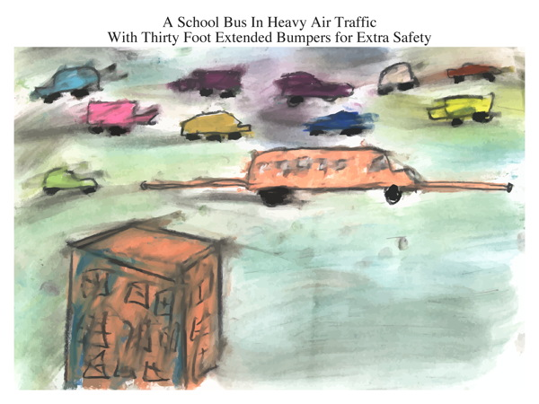 A School Bus In Heavy Air Traffic With Thirty Foot Extended Bumpers for Extra Safety
