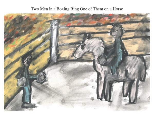 Two Men in a Boxing Ring One of Them on a Horse