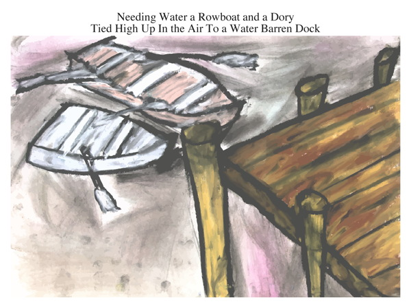 Needing Water a Rowboat and a Dory Tied High Up In the Air To a Water Barren Dock